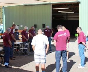 Men preparing for the event